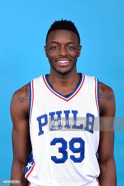 Jerami Grant of the Philadelphia 76ers poses for a photo during media day on September 28 2015 in Galloway New Jersey NOTE TO USER User expressly...