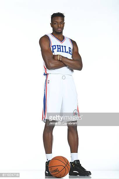 Jerami Grant of the Philadelphia 76ers poses for a portrait at the Philadelphia 76ers Training Complex during NBA media day on September 262016 in...