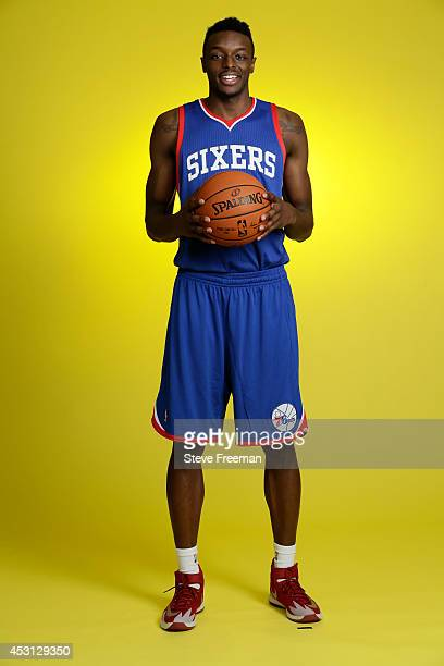 Jerami Grant of the Philadelphia 76ers poses for a portrait during the 2014 NBA rookie photo shoot on August 3 2014 at the Madison Square Garden...