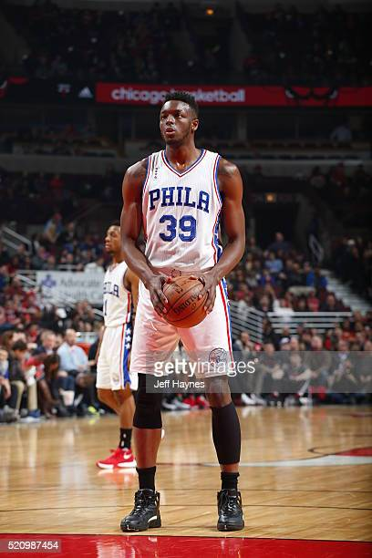 Jerami Grant of the Philadelphia 76ers shoots a foul shot against the Chicago Bulls on April 13 2016 at the United Center in Chicago Illinois NOTE TO...