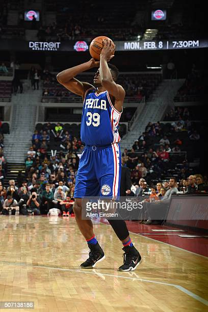 Jerami Grant of the Philadelphia 76ers shoots the ball during the game against the Detroit Pistons on January 27 2016 at The Palace of Auburn Hills...