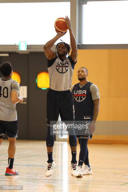 Jerami Grant of the USA Men's National Team shoots the ball during USAB Mens National Team practice on July 29, 2021 in Tokyo, Japan. NOTE TO USER:...