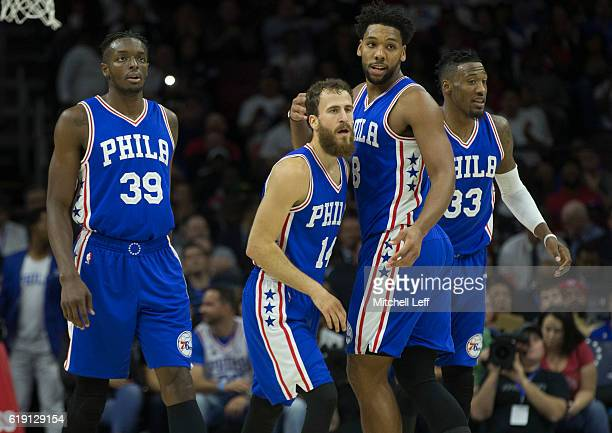 Jerami Grant Sergio Rodriguez Jahlil Okafor and Robert Covington of the Philadelphia 76ers play against the Oklahoma City Thunder at Wells Fargo...