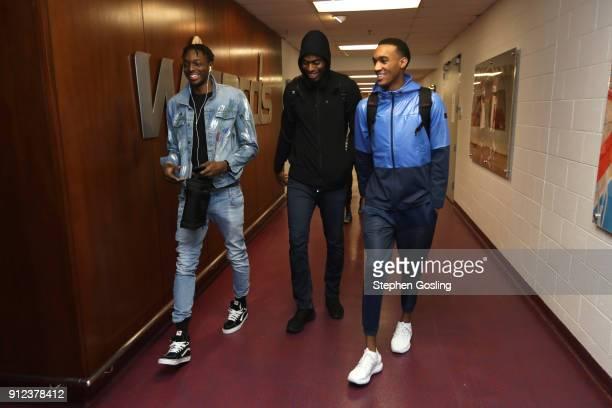 Jerami Grant Terrance Ferguson and Dakari Johnson of the Oklahoma City Thunder arrive at the stadium before the game against the Washington Wizards...