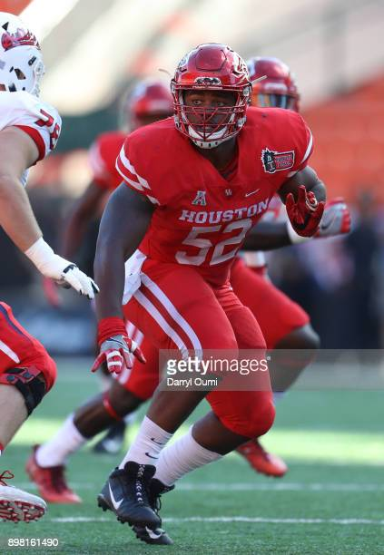 Jerard Carter of the Houston Cougars in action during the first quarter of the Hawaii Bowl against the Fresno State Bulldogs at Aloha Stadium on...