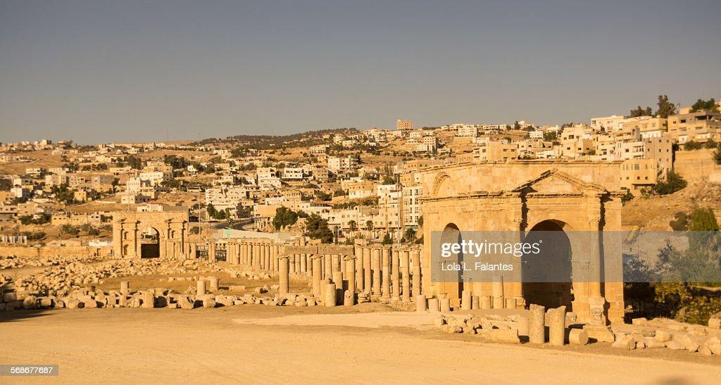 Jerash northern tetrapylon : Stock Photo