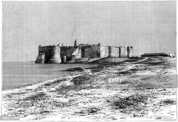 'Jerba Island Castle near Humt Suk Tunisia' c1890 The fortress at Houmt Souk on the island of Djerba Illustration from The Universal Geography with...
