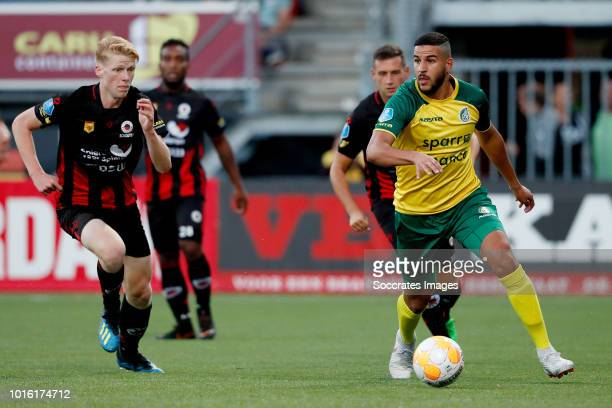 Jerdy Schouten of Excelsior Ahmed El Messaoudi of Fortuna Sittard during the Dutch Eredivisie match between Excelsior v Fortuna Sittard at the Van...