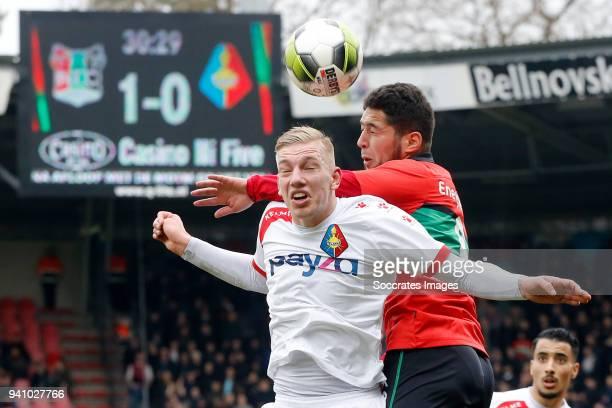 Jerdy Schouten of Telstar Anass Achahbar of NEC Nijmegen during the Dutch Jupiler League match between NEC Nijmegen v Telstar at the Goffert Stadium...