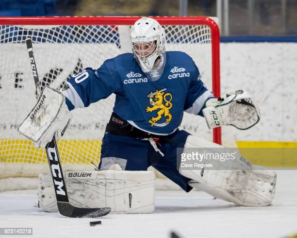 Jere Huhtamaa of the Finland Nationals makes a save against the Russian Nationals during the 2018 Under18 Five Nations Tournament game at USA Hockey...