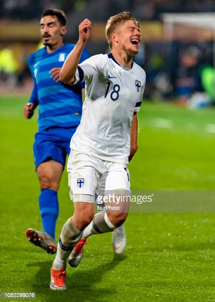 Jere Juhani Uronen of Finland celebrates during the UEFA Nations League group stage football match Finland v Grece in Tampere Finland on October 15...