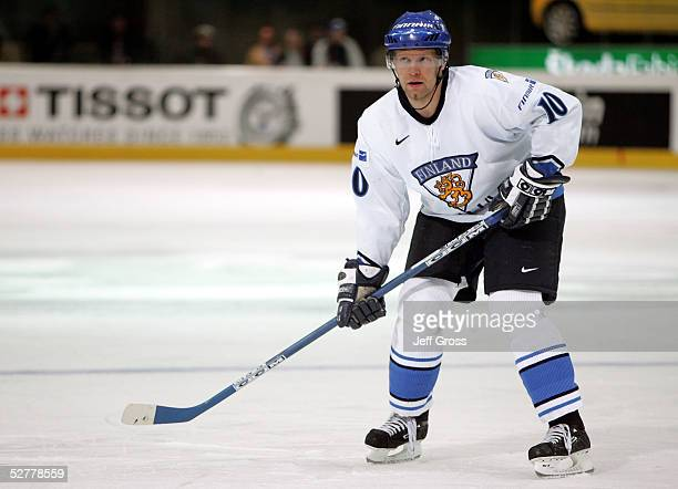 Jere Karalahti of Finland in action against the USA in the IIHF World Men's Championships qualifying round game at the Olympic Hall on May 6, 2005 in...