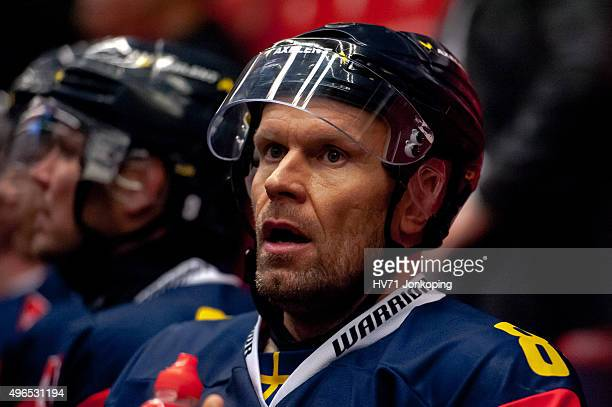 Jere Karalahti of HV71 looks on during the Champions Hockey League round of eight game between HV71 Jonkoping and Espoo Blues on November 10, 2015 in...