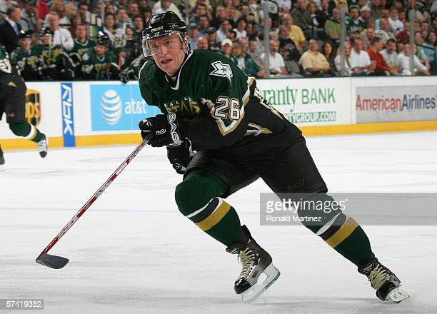 Jere Lehtinen of the Dallas Stars skates against the Colorado Avalanche during Game two of the NHL Western Conference Quarterfinals at the American...