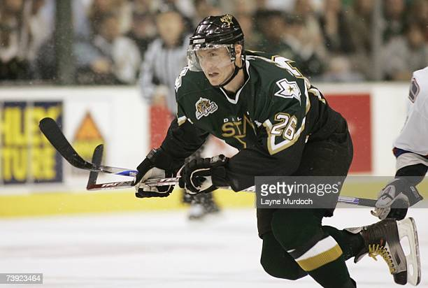 Jere Lehtinen of the Dallas Stars skates against the Vancouver Canucks during game three of the 2007 NHL Western Conference Quarterfinals at American...