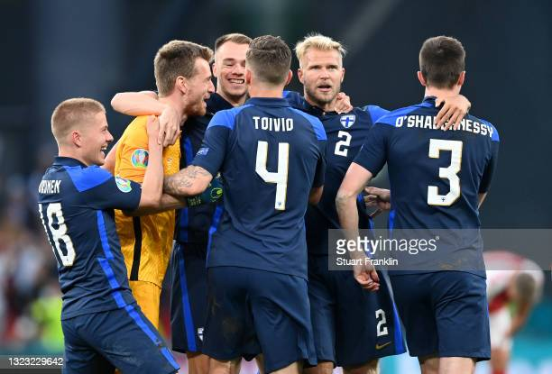 Jere Uronen, Lukas Hradecky, Leo Vaeisaenen, Joona Toivio, Paulus Arajuuri and Daniel O'Shaughnessy of Finland celebrates their side's victory after...