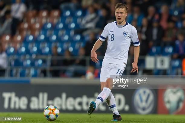 Jere Uronen of Finland controls the ball during the UEFA Euro 2020 Qualifier match between Liechtenstein and Finland at Rheinpark Stadion on June 11...
