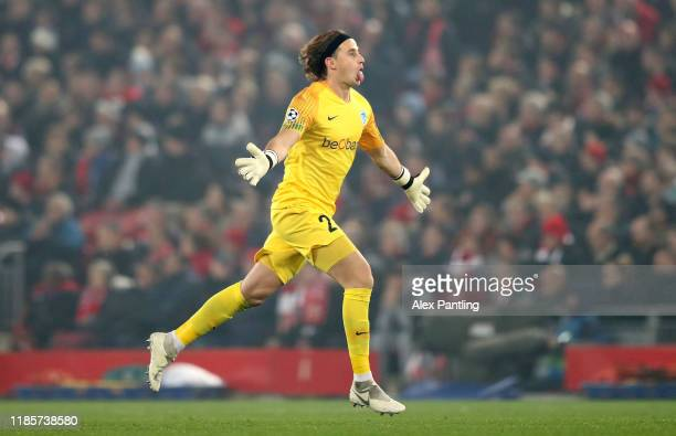 Jere Uronen of KRC Genk celebrates his team's first goal during the UEFA Champions League group E match between Liverpool FC and KRC Genk at Anfield...