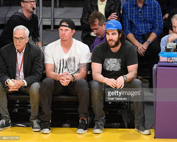 Jered Weaver and Dan Haren attend a basketball game between the Minnesota Timberwolves and the Los Angeles Lakers at Staples Center on October 28...