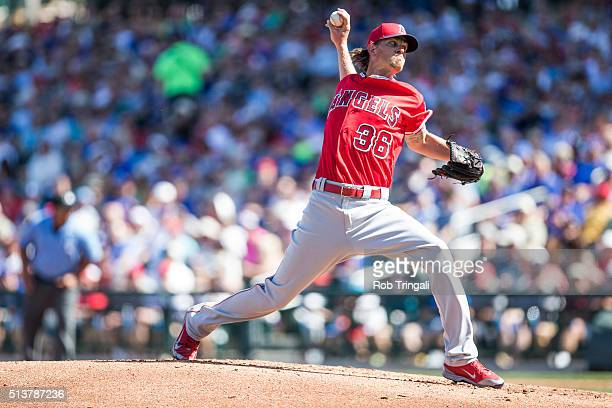 Jered Weaver of the Los Angeles Angels bats during a spring training game against the Chicago Cubs at Sloan Park on March 4 2016 in Mesa Arizona
