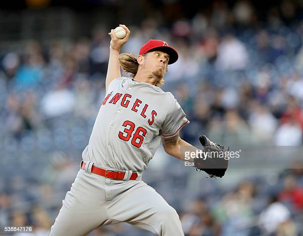 Jered Weaver of the Los Angeles Angels delivers a pitch in the first inning against the New York Yankees at Yankee Stadium on June 8 2016 in the...