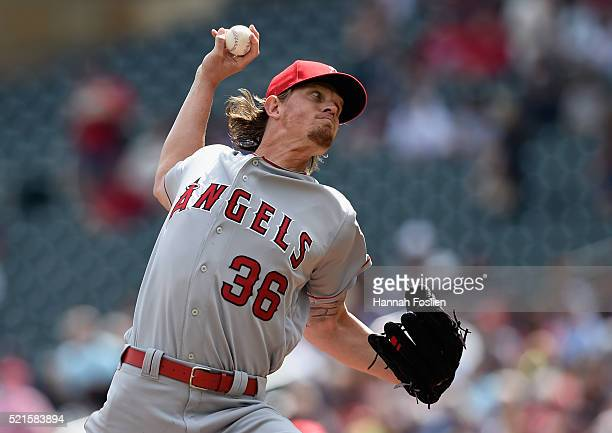 Jered Weaver of the Los Angeles Angels of Anaheim delivers a pitch against the Minnesota Twins during the first inning of the game on April 16 2016...