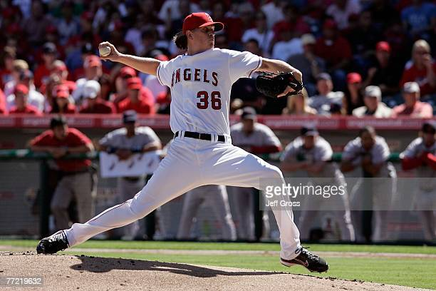 Jered Weaver of the Los Angeles Angels of Anaheim on the mound against the Boston Red Sox during Game Three of the American League Divisional Series...