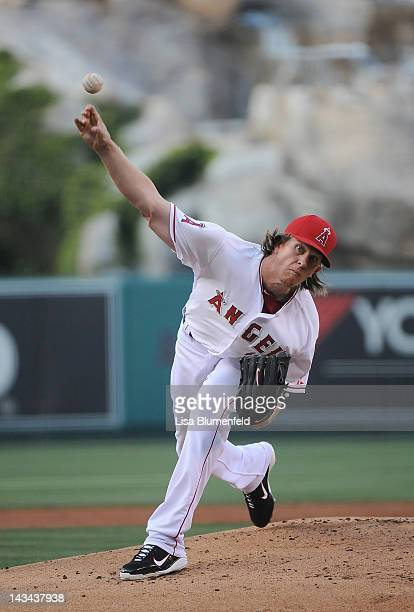 Jered Weaver of the Los Angeles Angels of Anaheim pitches a complete game to defeat the Baltimore Orioles 63 at Angel Stadium of Anaheim on April 21...