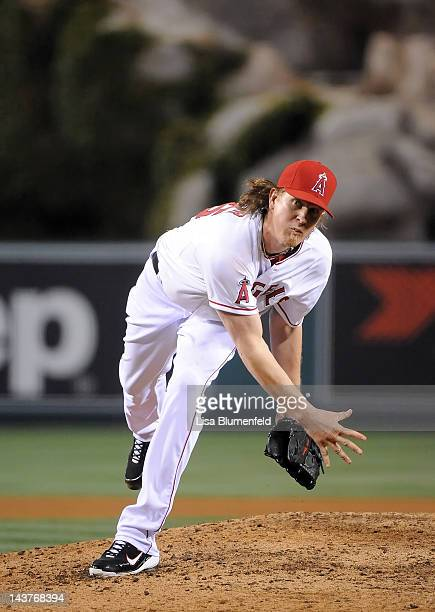Jered Weaver of the Los Angeles Angels of Anaheim pitches against the Minnesota Twins at Angel Stadium of Anaheim on May 2 2012 in Anaheim California...