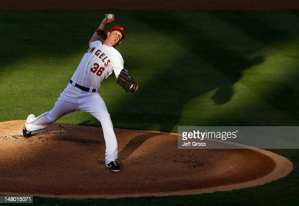 Jered Weaver of the Los Angeles Angels of Anaheim pitches against the Baltimore Orioles in the first inning at Angel Stadium of Anaheim on July 7...
