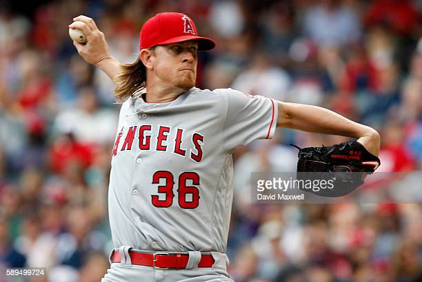 Jered Weaver of the Los Angeles Angels of Anaheim pitches against the Cleveland Indians during the first inning at Progressive Field on August 14...