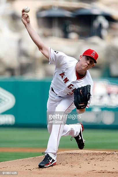 Jered Weaver of the Los Angeles Angels of Anaheim pitches against the New York Yankees during the first inning in Game Three of the ALCS during the...