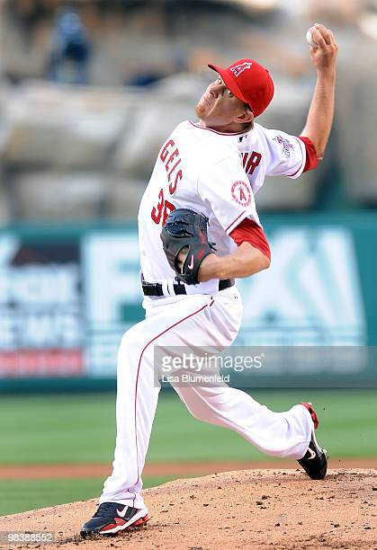 Jered Weaver of the Los Angeles Angels of Anaheim pitches against the Oakland Athletics on April 10 2010 in Anaheim California