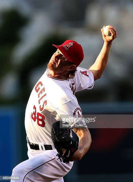 Jered Weaver of the Los Angeles Angels of Anaheim throws a pitch against the Oakland Athletics at Angel Stadium of Anaheim on June 11 2014 in Anaheim...
