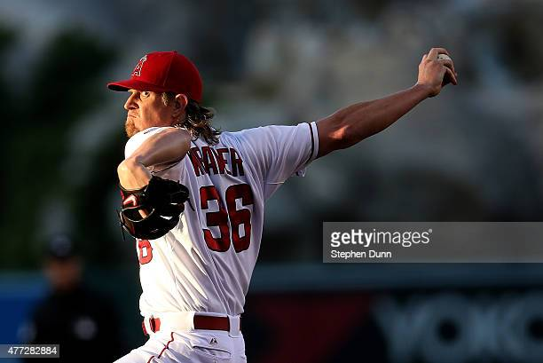 Jered Weaver of the Los Angeles Angels of Anaheim throws a pitch against the Arizona Diamondbacks at Angel Stadium of Anaheim on June 15 2015 in...