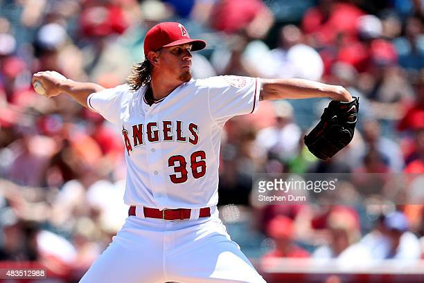 Jered Weaver of the Los Angeles Angels of Anaheim throws a pitch against the Baltimore Orioles at Angel Stadium of Anaheim on August 9 2015 in...