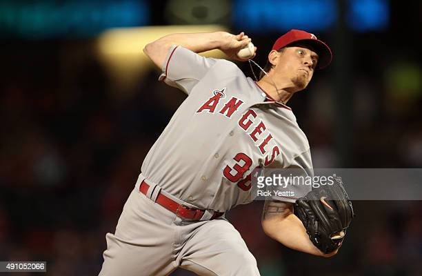 Jered Weaver of the Los Angeles Angels of Anaheim throws in the first inning against the Texas Rangers at Rangers Global Life Park in Arlington on...
