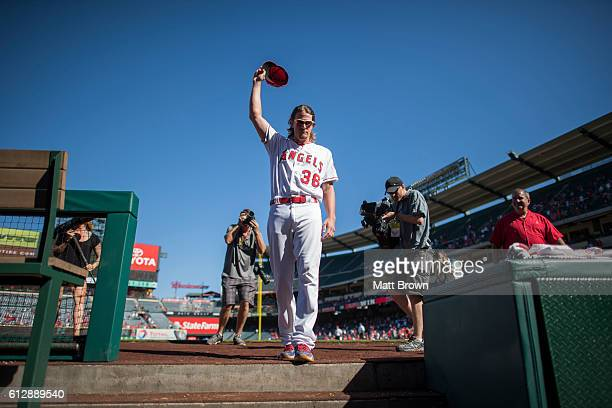 Jered Weaver of the Los Angeles Angels of Anaheim waves to the crowd after the game against the Houston Astros at Angel Stadium of Anaheim on October...
