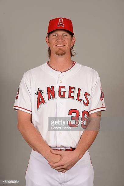 Jered Weaver of the Los Angeles Angels poses during Photo Day on Saturday February 28 2015 at Tempe Diablo Stadium in Tempe Arizona