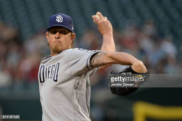 Jered Weaver of the San Diego Padres delivers a pitch in the first inning against the Arizona Diamondbacks at Chase Field on April 27 2017 in Phoenix...
