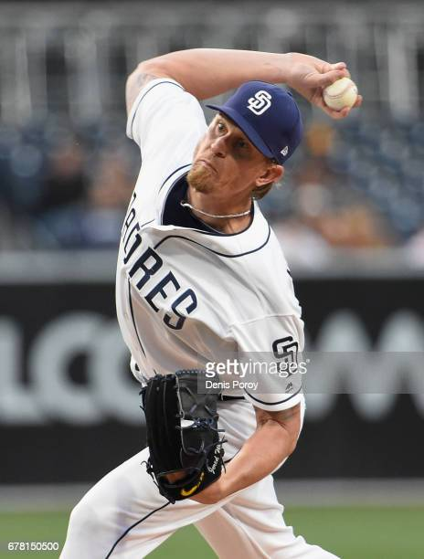 Jered Weaver of the San Diego Padres pitches during the first inning of a baseball game against the Colorado Rockies at PETCO Park on May 3 2017 in...