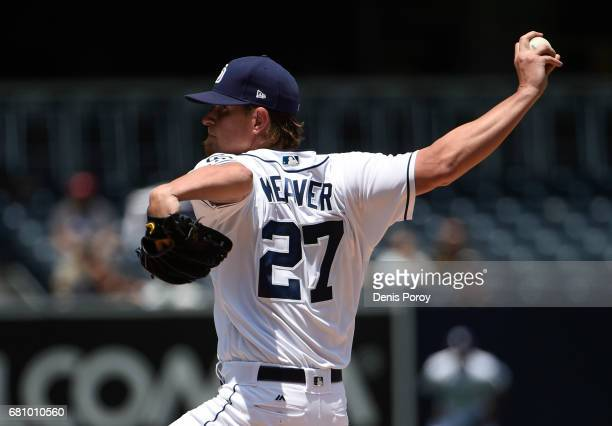 Jered Weaver of the San Diego Padres pitches during the first inning of a baseball game against the Texas Rangers at PETCO Park on May 9 2017 in San...