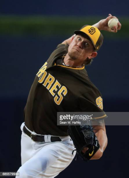 Jered Weaver of the San Diego Padres pitches during the first inning of a game against the Arizona Diamondbacks at PETCO Park on May 19 2017 in San...