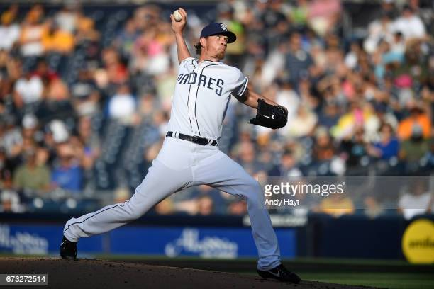 Jered Weaver of the San Diego Padres pitches during the game against the Miami Marlins at Petco Park on April 22 2017 in San Diego California