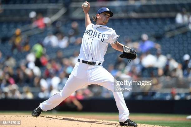 Jered Weaver of the San Diego Padres pitches during the game against the Texas Rangers at Petco Park on May 9 2017 in San Diego California