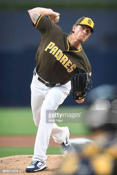 Jered Weaver of the San Diego Padres pitches during the game against the Arizona Diamondbacks at Petco Park on May 19 2017 in San Diego California