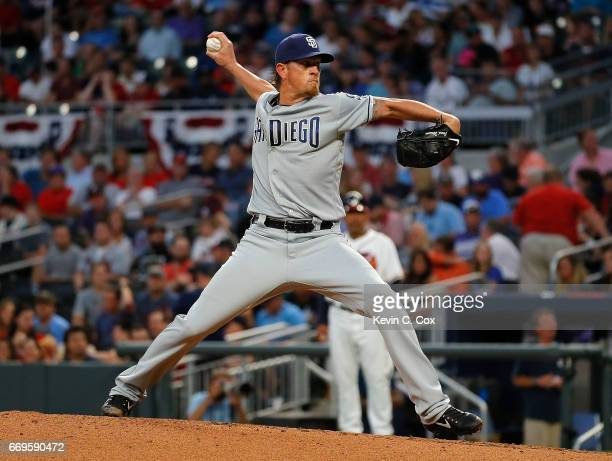 Jered Weaver of the San Diego Padres pitches in the second inning against the Atlanta Braves at SunTrust Park on April 17 2017 in Atlanta Georgia
