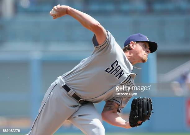 Jered Weaver of the San Diego Padres throws a pitch against the Los Angeles Dodgers in the first inning at Dodger Stadium on April 6 2017 in Los...