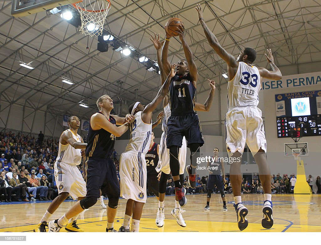 Jerel McNeal #11 of the Bakersfield Jam shoots the ball during a game against the Santa Cruz Warriors on December 23, 2012 at Kaiser Permanente Arena in Santa Cruz, California.