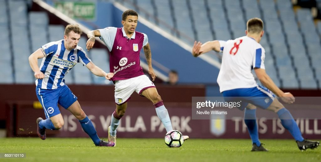 Jerell Sellars of Aston Villa during the Premier League 2 match between Aston Villa and Brighton & Hove Albion at Villa Park on March 13, 2017 in Birmingham, England.